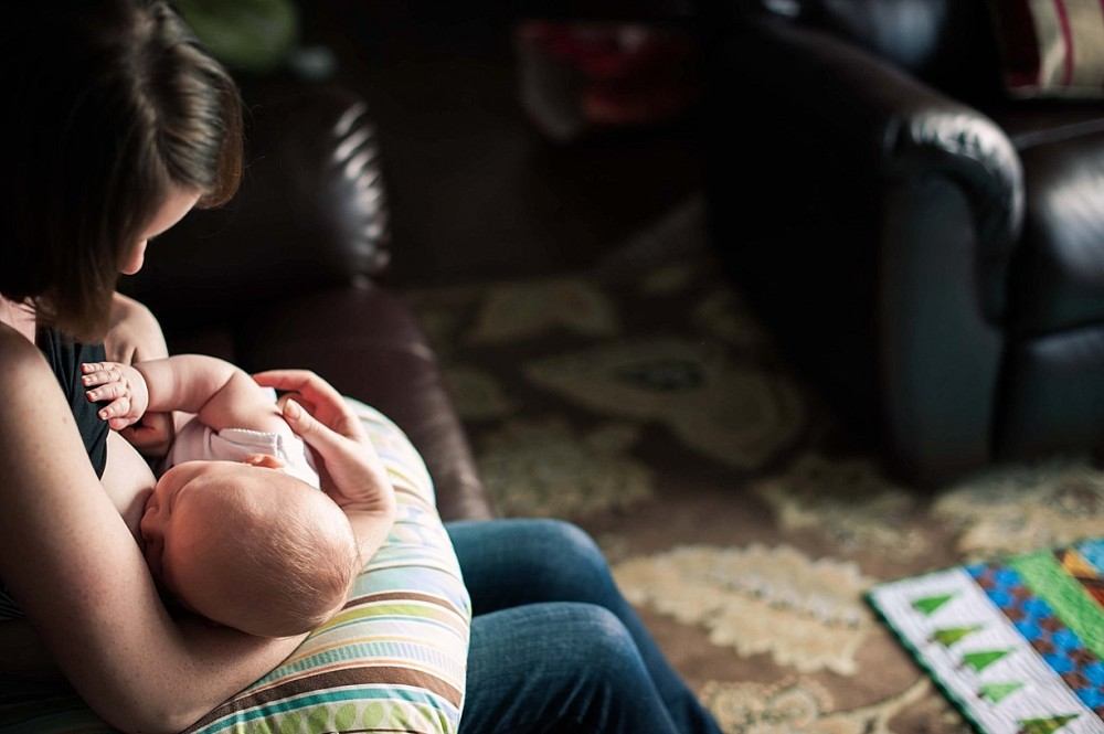 a picture of a mom breastfeeding her young baby by Fairbanks Alaska photographer Sarah Lewis