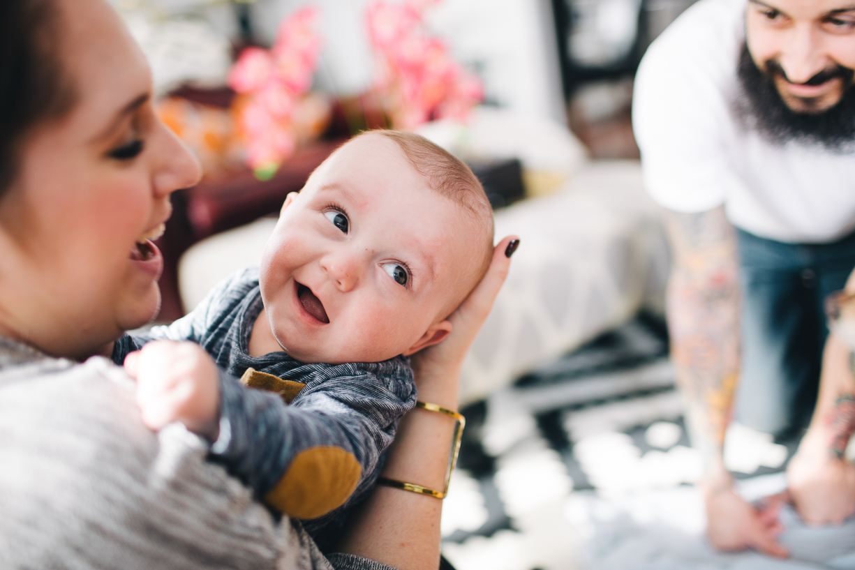 colorful photo of a happy baby by Philly photographer Parikha Meta