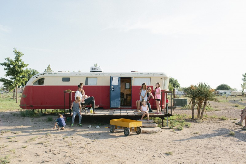 3 family in front of camper in malfa by texas photographer brooke schwab