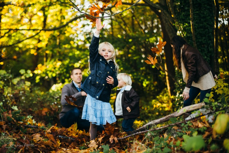 4 picture of family of four in woods blonde girl Vancouver Family Photographer - Emmy Lou Virginia Photography-20