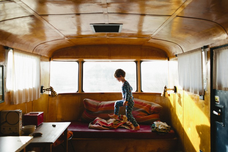 9 boy plays in camper by texas photographer brooke schwab