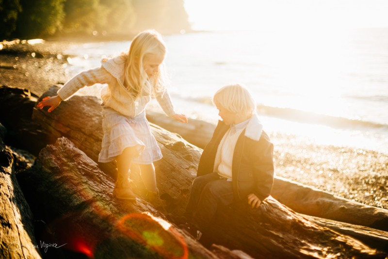 9 photo of young blond boy girl climbing logs Vancouver Family Photographer - Emmy Lou Virginia Photography-28