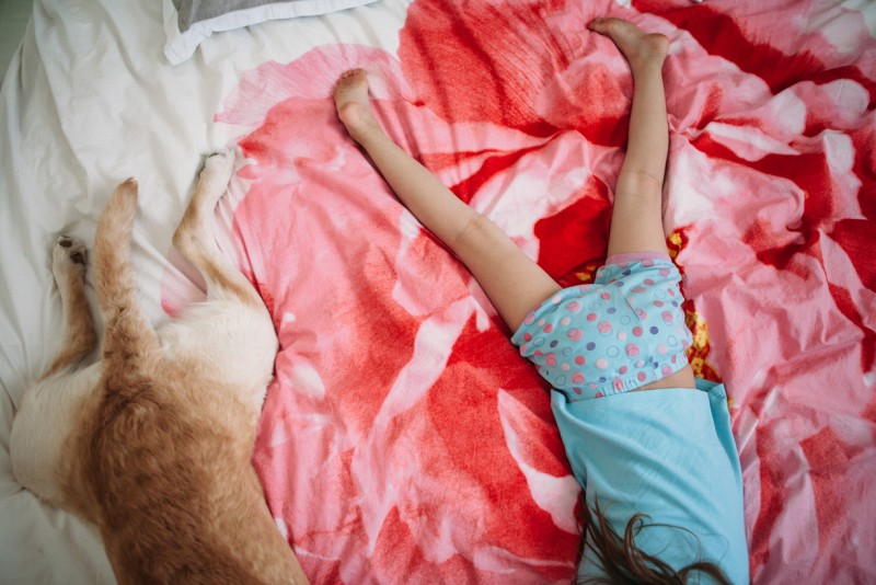 photograph of dog and girl on pink bed taken from above headless by melissa weicker