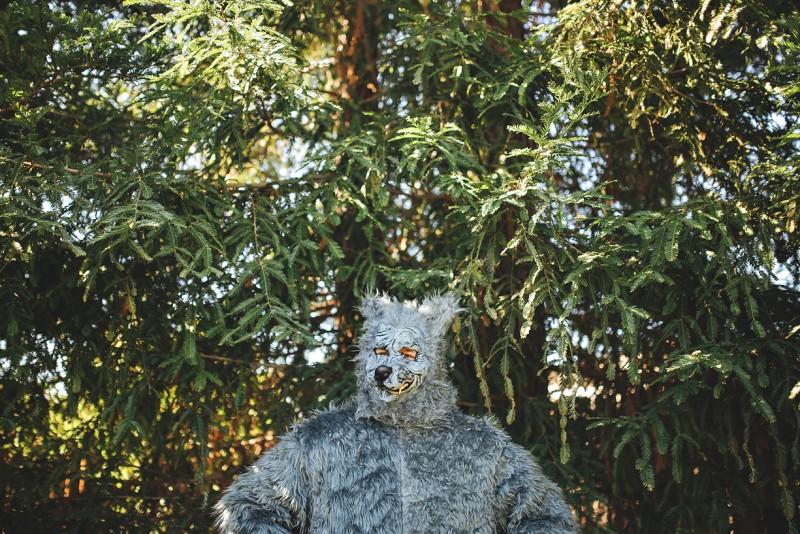 image of man dressed in gray wolf costume in front of trees by winnie bruce