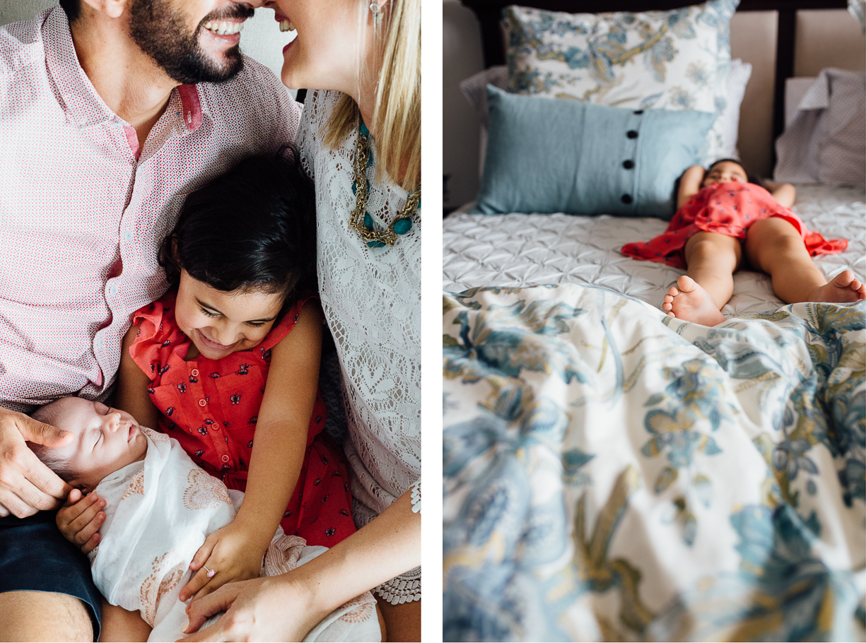 a photo of a family snuggling their new baby by kuala lumpur photographer clare barker wells
