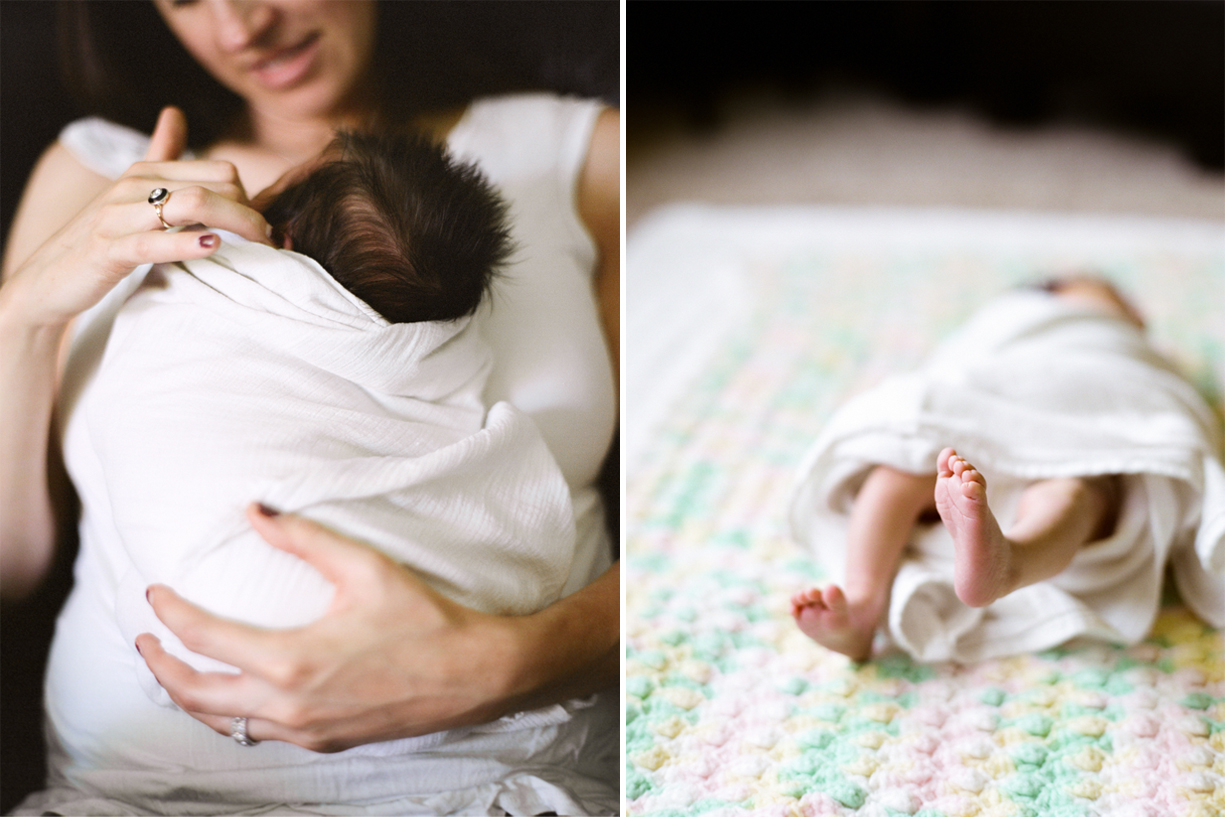 a film photo of a newborn baby laying on the bed by portland oregon photographer marla cyree