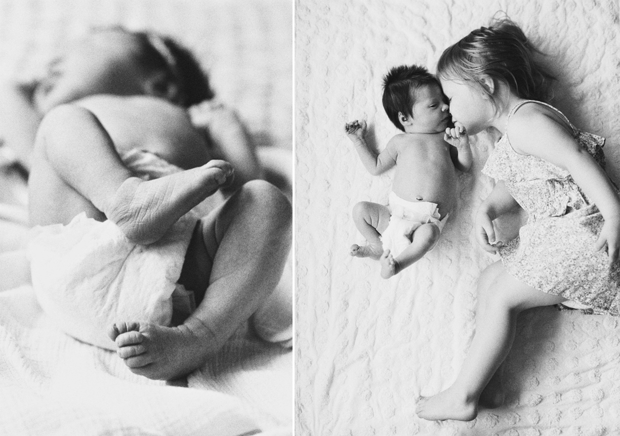 a picture of a newborn baby being loved by her big sister by portland oregon photographer marla cyree