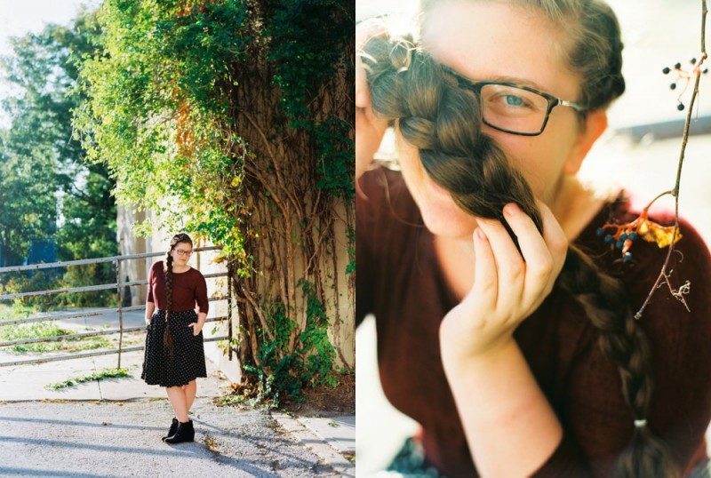 long braid on senior photos on ektar film by ashley crawford