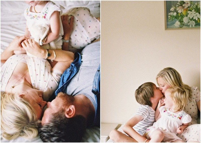 mom kissing kids and husband on bed photo by krjsten madsen