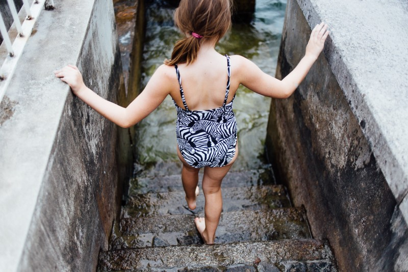 3 girl walks down steps into water by Darcy Troutman Photography