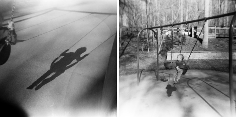 little child on swing on black and film film photo by jess rotenberg