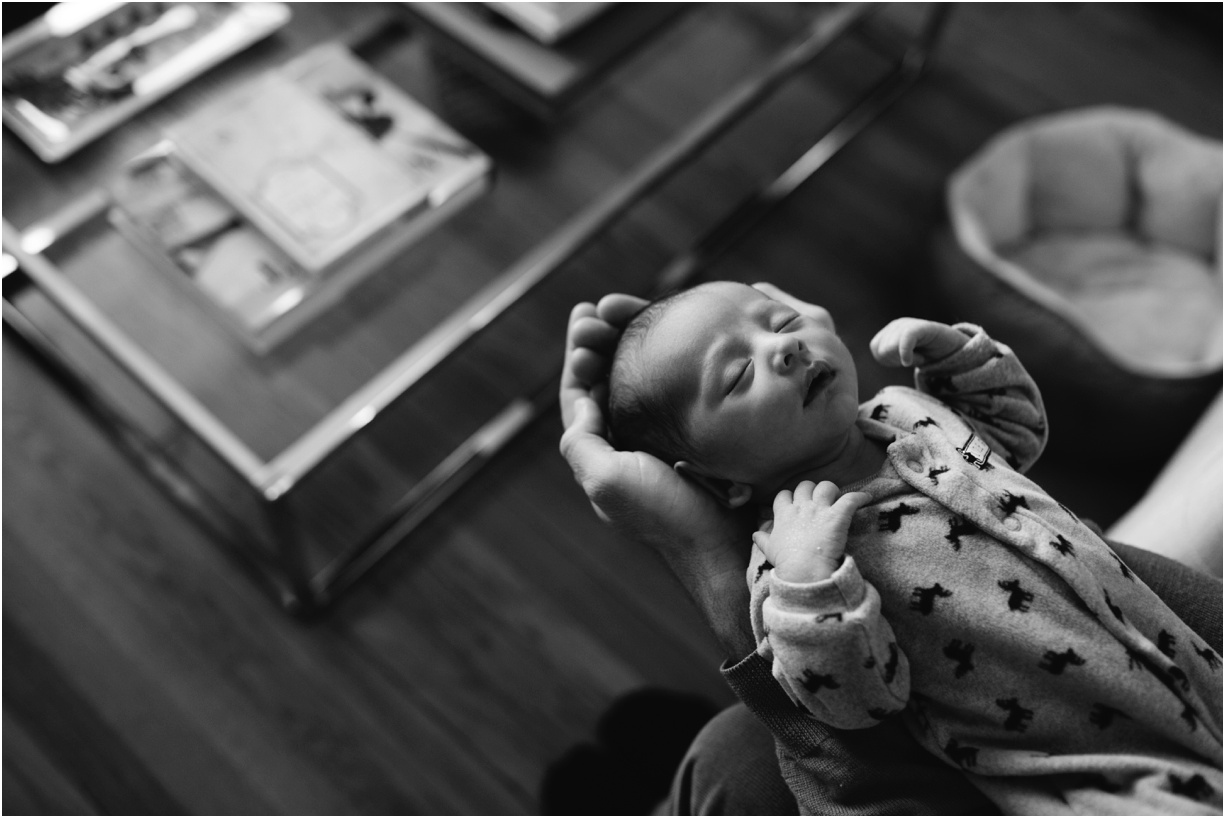 a black and white image of a newborn by new york photographer mikki skinner