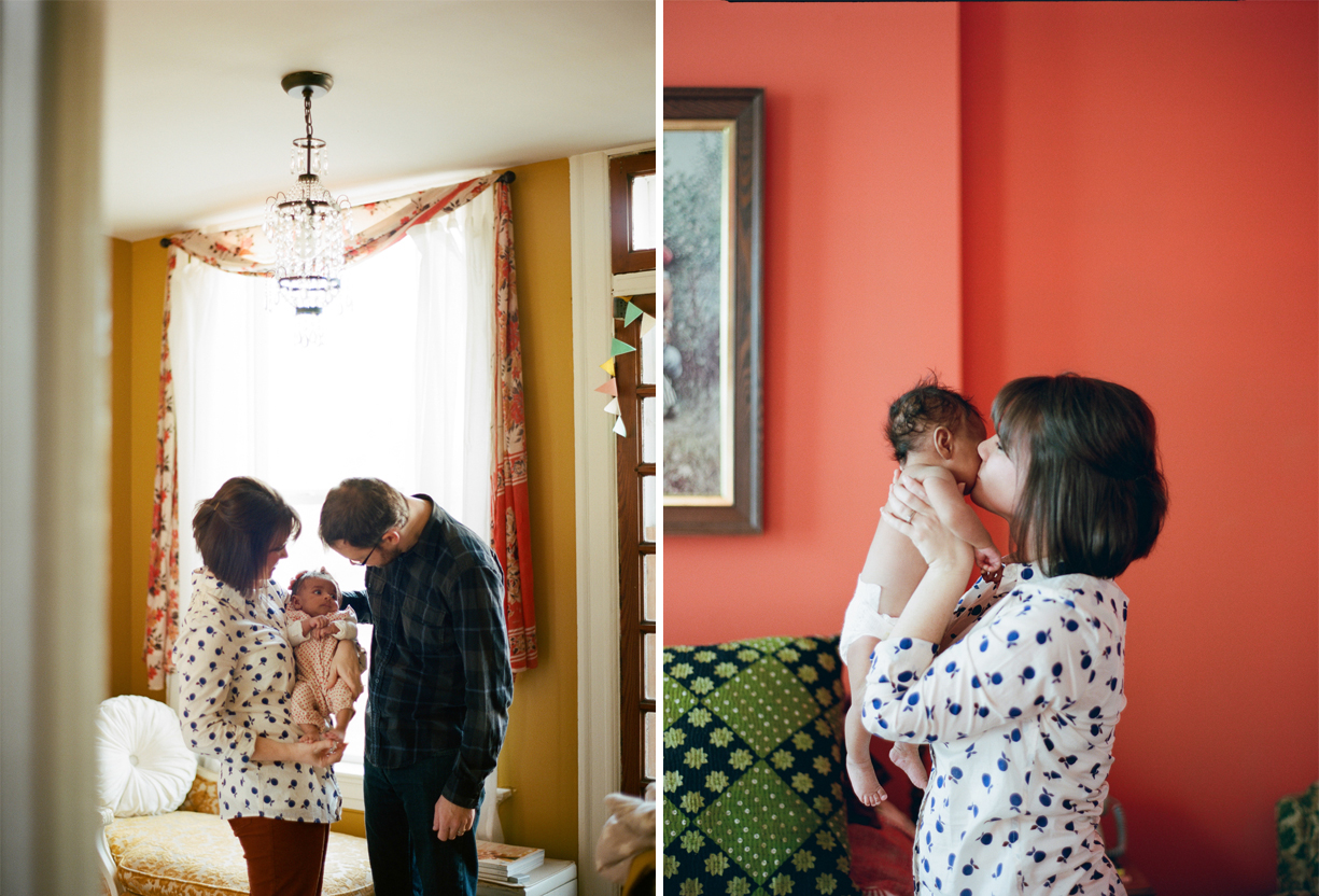 a picture of a family bonding with their adopted daughter by photographer Shelly Goodman
