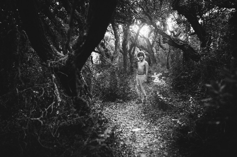 black and white portrait of boy standing in the trees by Nadia Stone