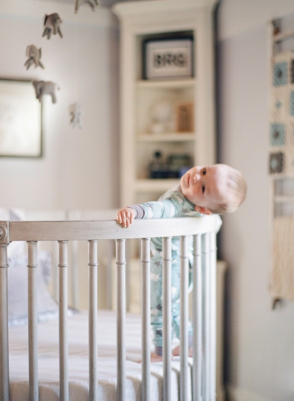 one year old photo shoot in an adorable nursery by film photographer Audra Wrisley
